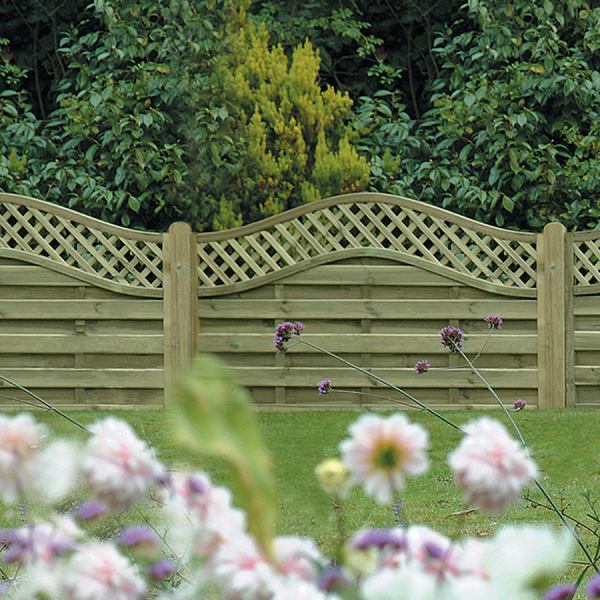 1.2m x 1.8m Omega Lattice Top Fence Panel
